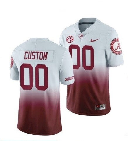 Alabama Crimson Tide Custom Name and Number Football Jersey Red White