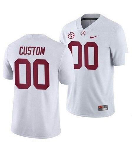 Alabama Crimson Tide Custom Name and Number College Football Jersey White Game