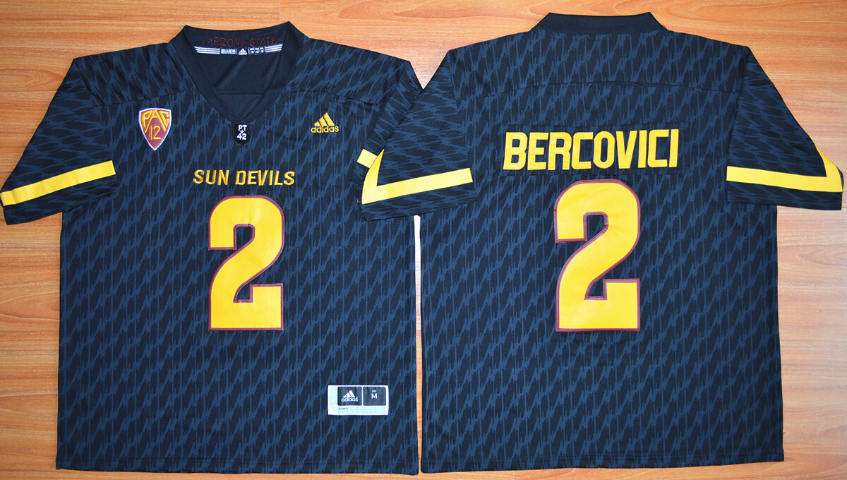 Arizona State Sun Devils #2 Mike Bercovici Jersey Navy Blue Football NCAA