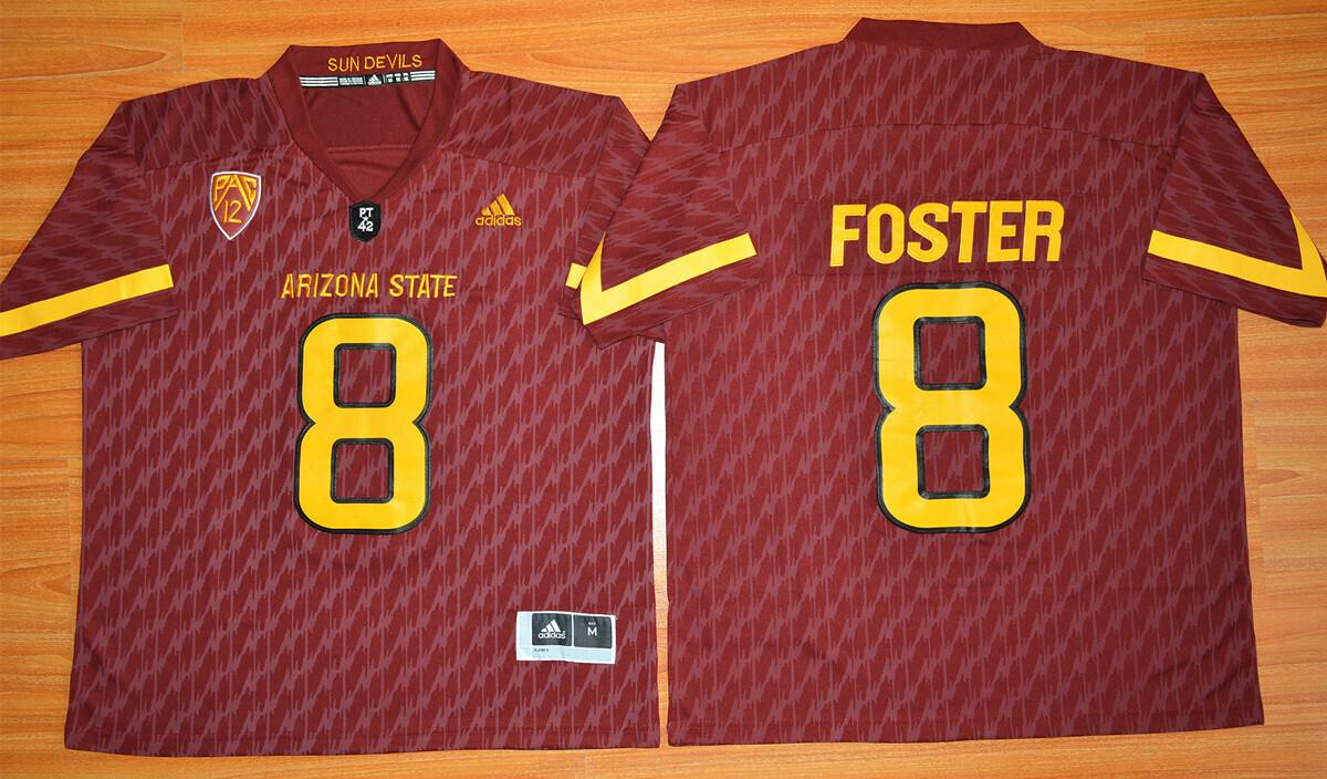 Arizona State Sun Devils #8 D.J. Foster Jersey Maroon College Football