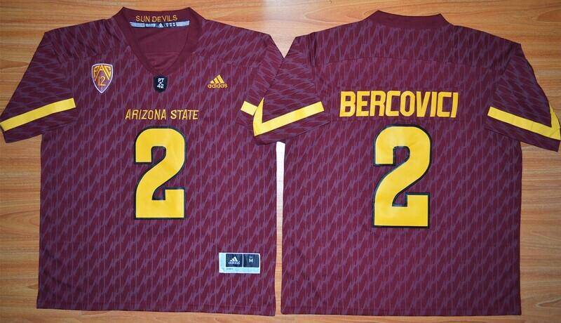 Arizona State Sun Devils #2 Mike Bercovici Jersey Maroon Football NCAA