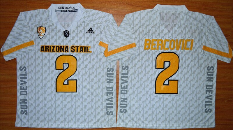 Arizona State Sun Devils #2 Mike Bercovici Jersey White Football NCAA