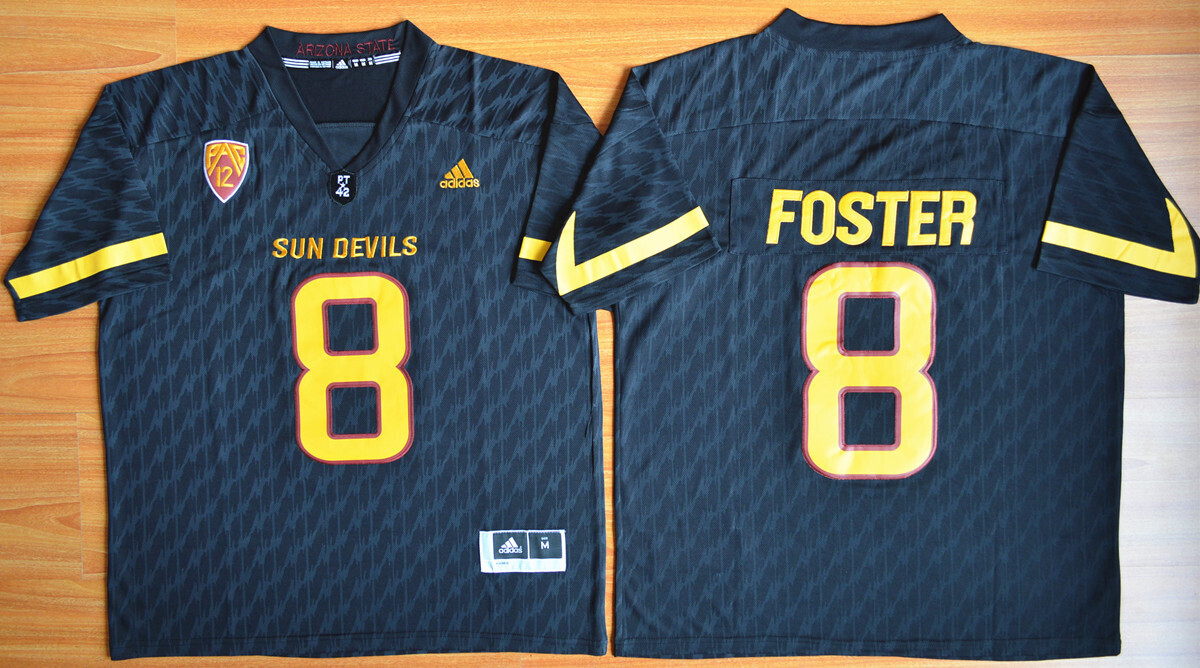 Arizona State Sun Devils #8 D.J. Foster Jersey Black College Football