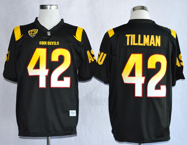 Arizona State Sun Devils #42 Pat Tillman Jersey White College Football Black With Patch