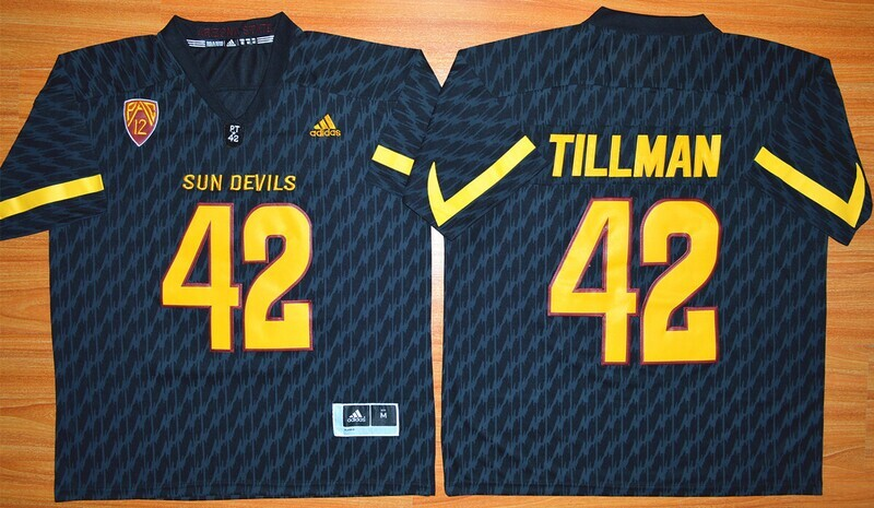 Arizona State Sun Devils #42 Pat Tillman Jersey White College Football Black