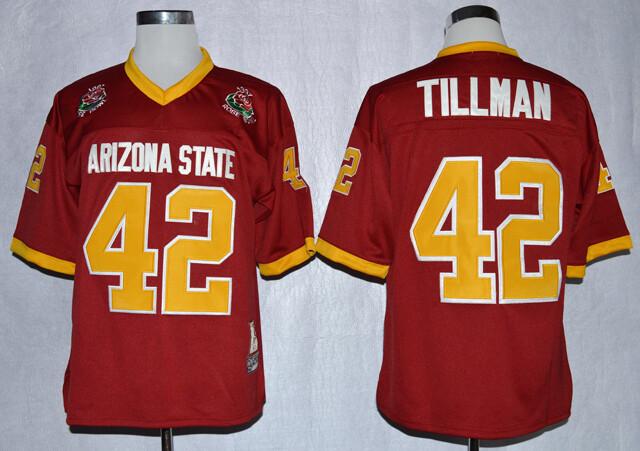 Arizona State Sun Devils #42 Pat Tillman Jersey White College Football Maroon 1997 Rose Bowl