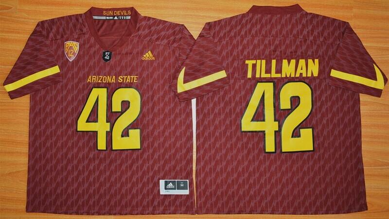 Arizona State Sun Devils #42 Pat Tillman Jersey White College Football Maroon