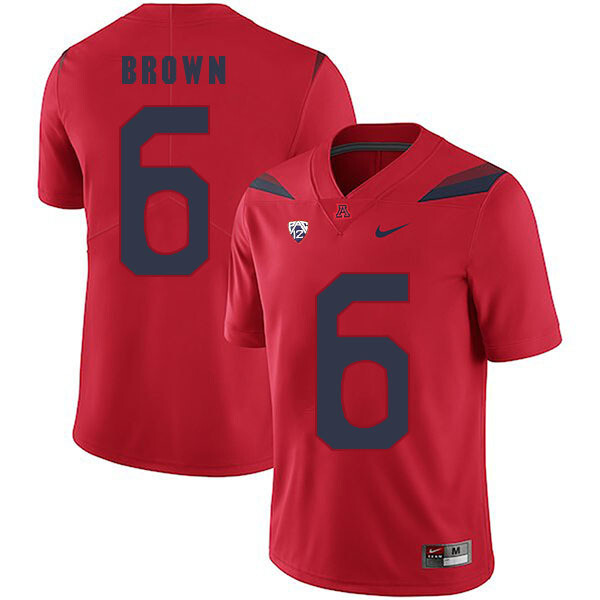 Arizona Wildcats #6 Shun Brown Jersey Red College Football