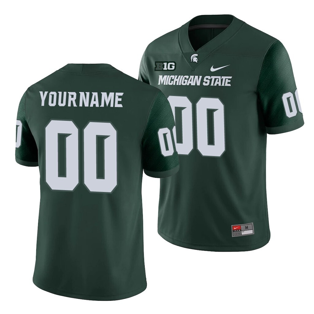 Michigan State Spartans Custom Name and Number Football Jersey Green