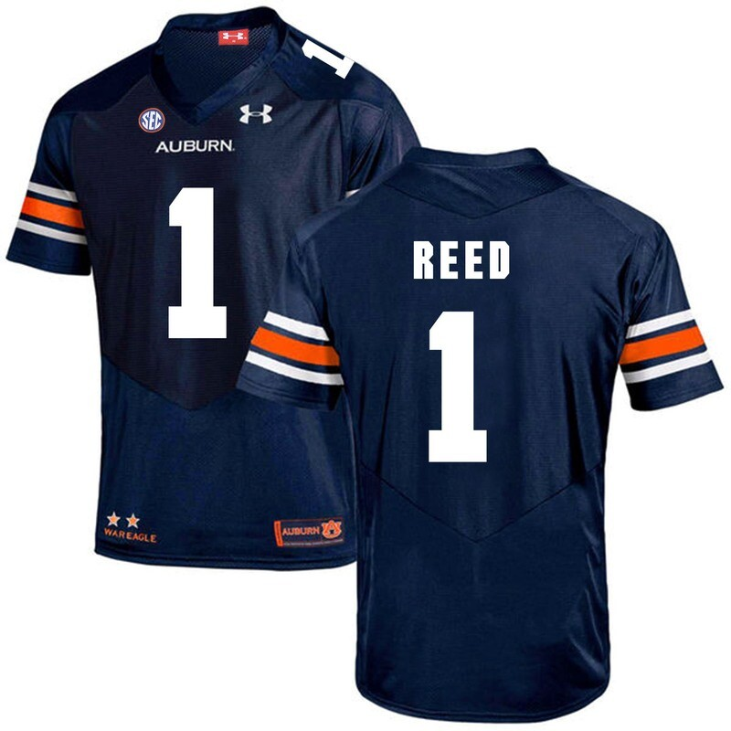 Auburn Tigers #1 Trovon Reed Jersey College Football Navy Blue