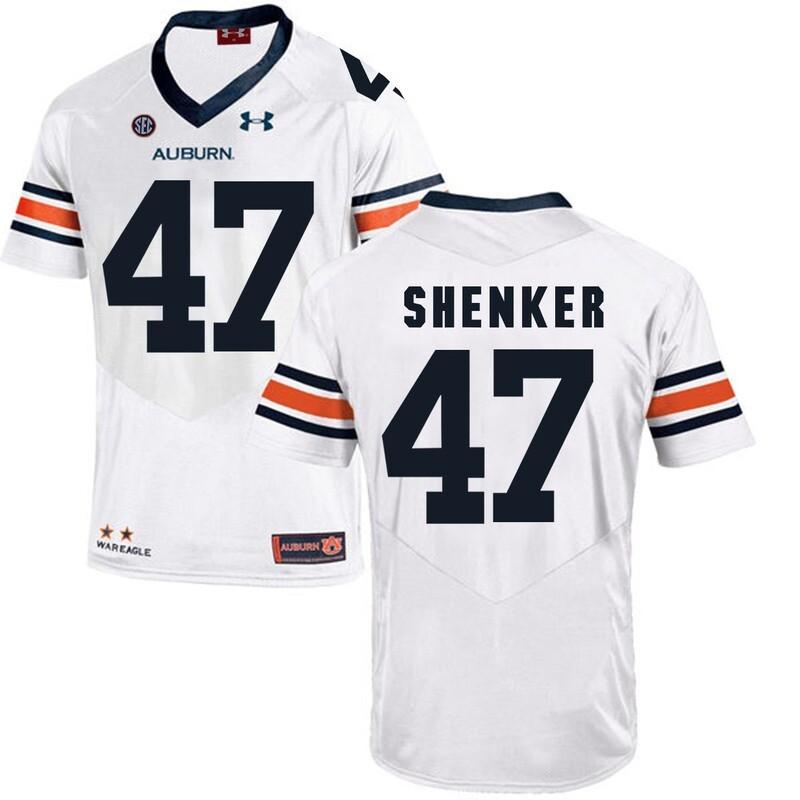 Auburn Tigers Under Armour #47 SHENKER Football Jersey White