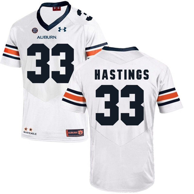 Auburn Tigers Under Armour #33 Will Hastings Football Jersey White