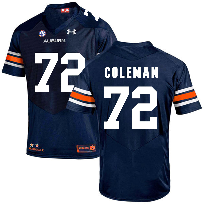 Auburn Tigers Under Armour #72 Shon Coleman Football Jersey Dark Blue
