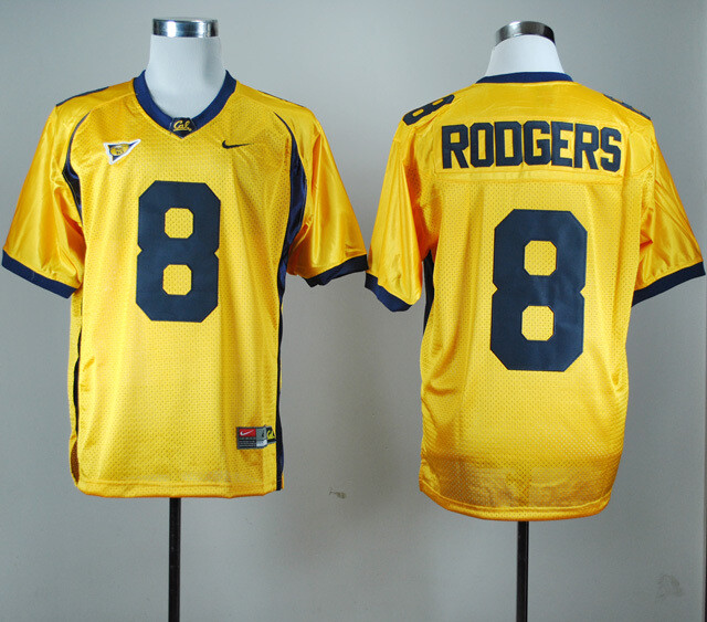 California Golden Bears #8 Aaron Rodgers NCAA Football Jersey Yellow