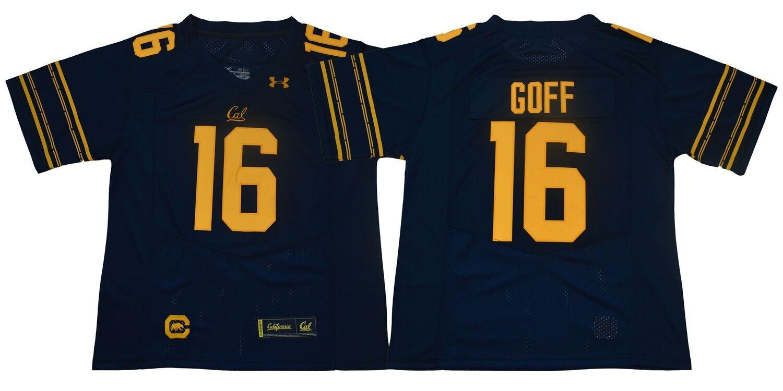 California Golden Bears #16 Goff Football Jersey Deep Blue Under Armour