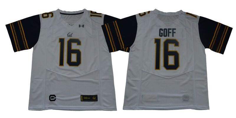 California Golden Bears #16 Goff Football Jersey White Under Armour