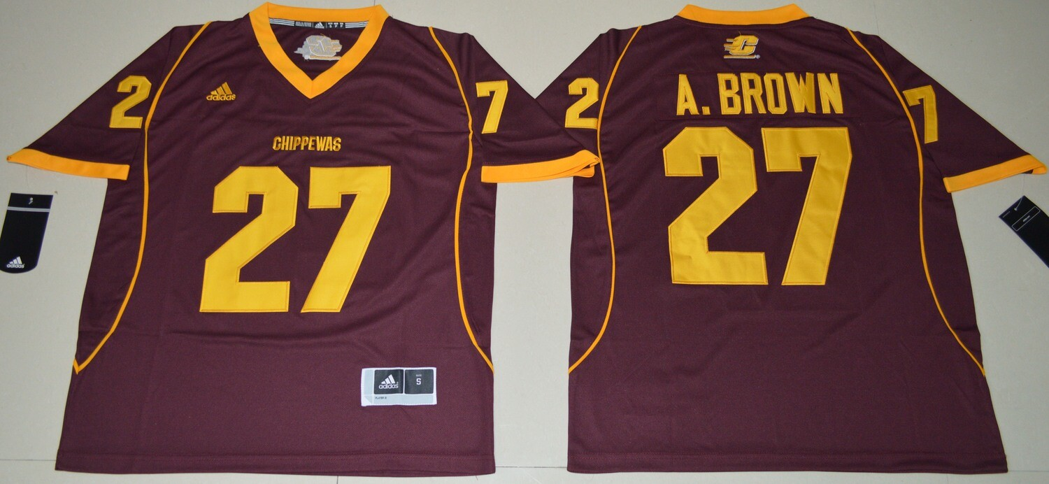Central Michigan Chippewas #27 Antonio Brown Football Jersey With Patch