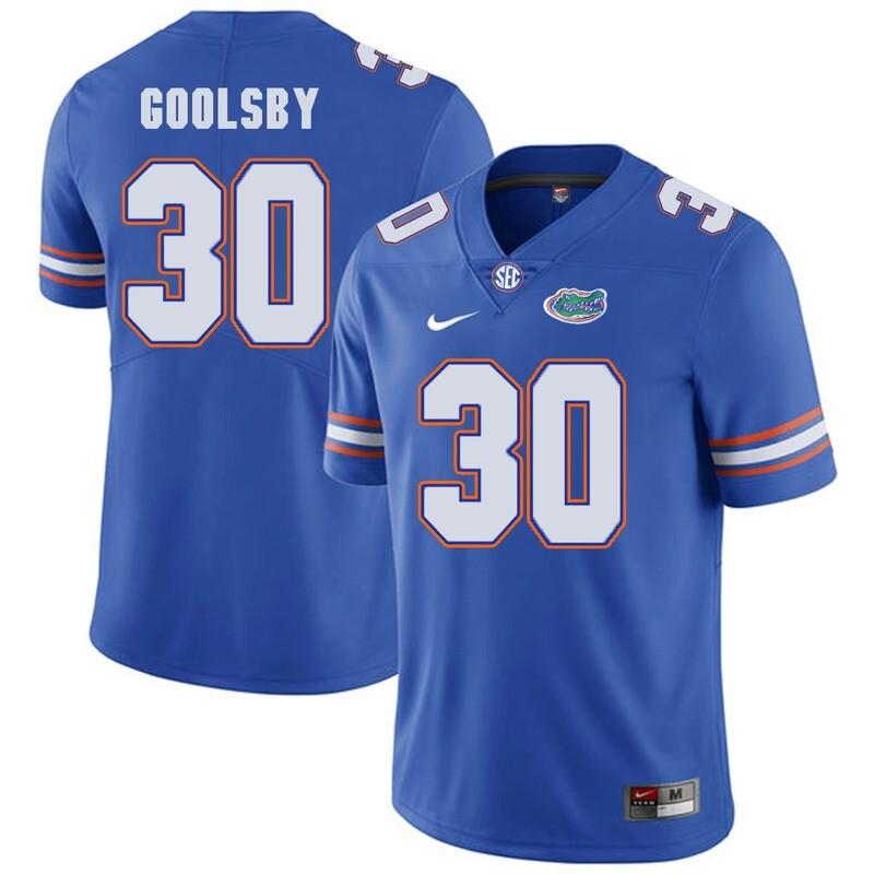 Florida Gators #30 DeAndre Goolsby NCAA Football Jersey Blue Logo Patch