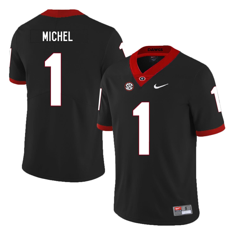 Georgia Bulldogs #1 Sony Michel NCAA College Football Jersey Black