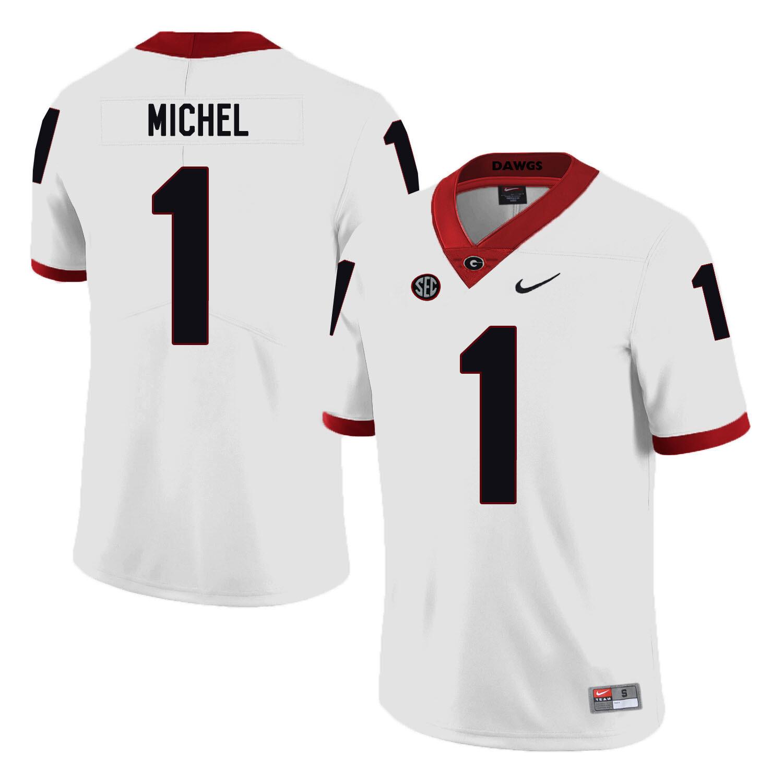 Georgia Bulldogs #1 Sony Michel NCAA College Football Jersey White