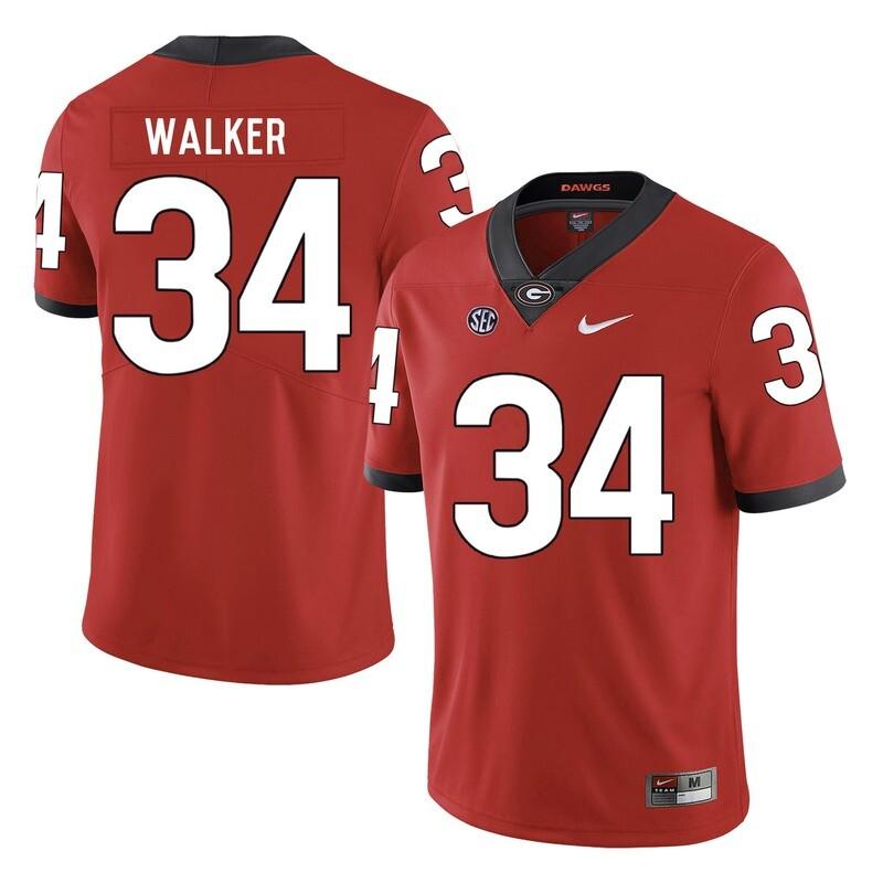 Georgia Bulldogs #34 Herchel Walker College Football Jersey Red