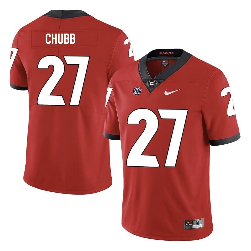 Georgia Bulldogs #27 Nick Chubb College Football Jersey Red