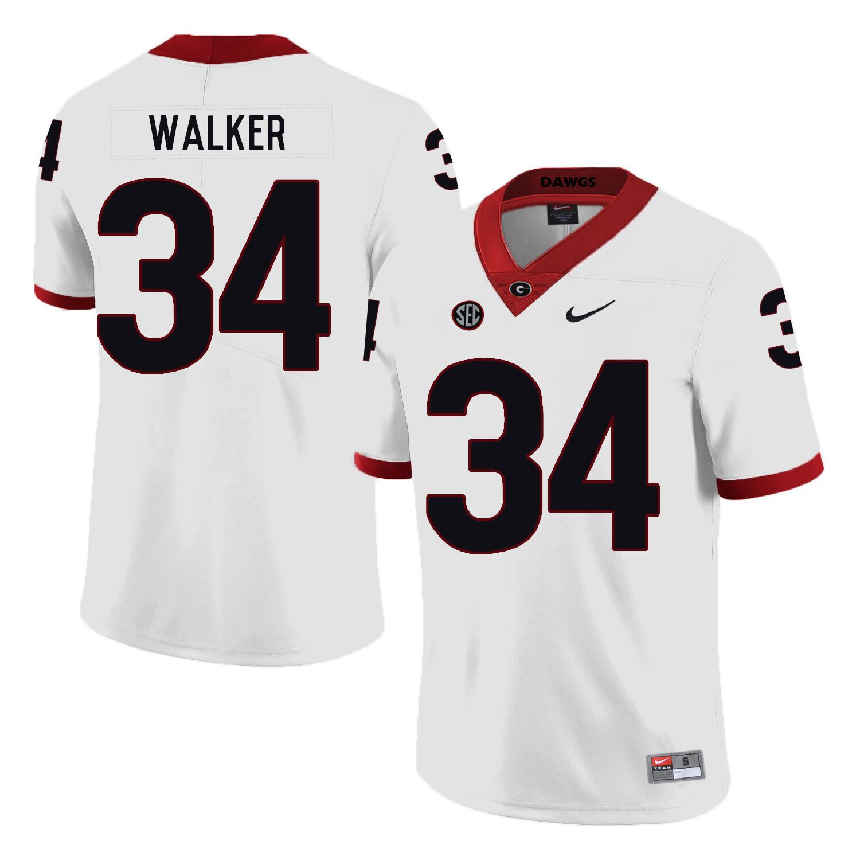 Georgia Bulldogs #34 Herchel Walker College Football Jersey White