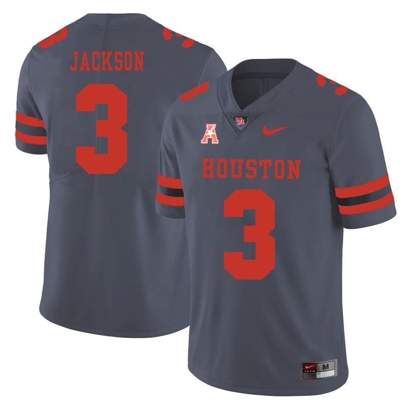 Houston Cougars #3 William Jackson College Football Jersey Gray