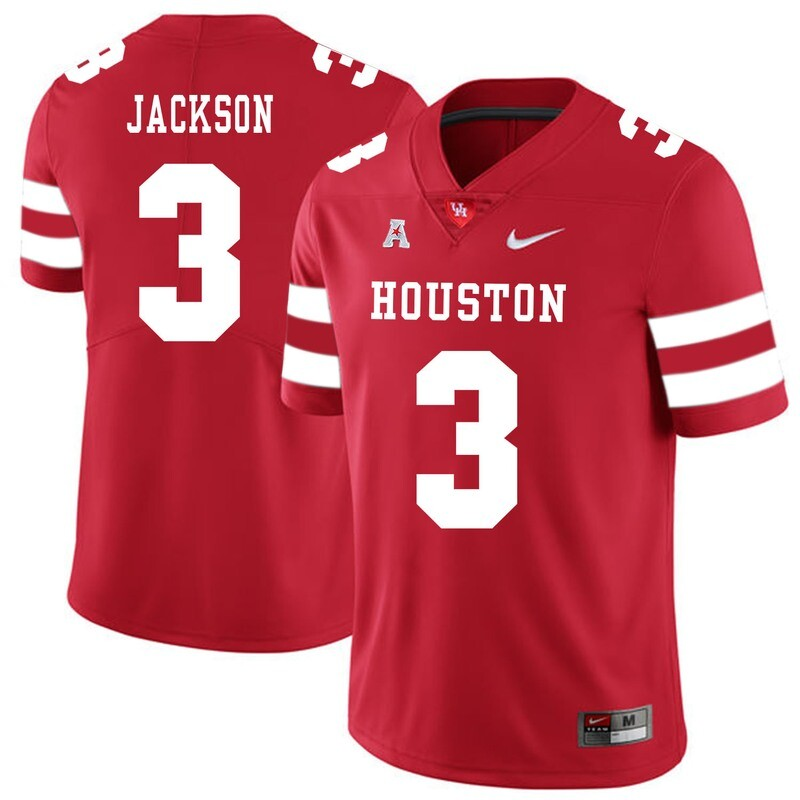 Houston Cougars #3 William Jackson College Football Jersey Red