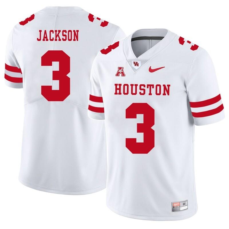 Houston Cougars #3 William Jackson College Football Jersey White