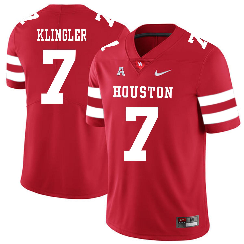 Houston Cougars #7 David Klingler College Football Jersey Red