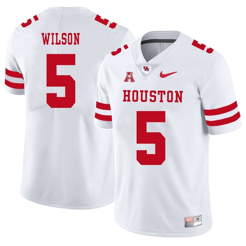 Houston Cougars #5 Howard Wilson College Football Jersey White