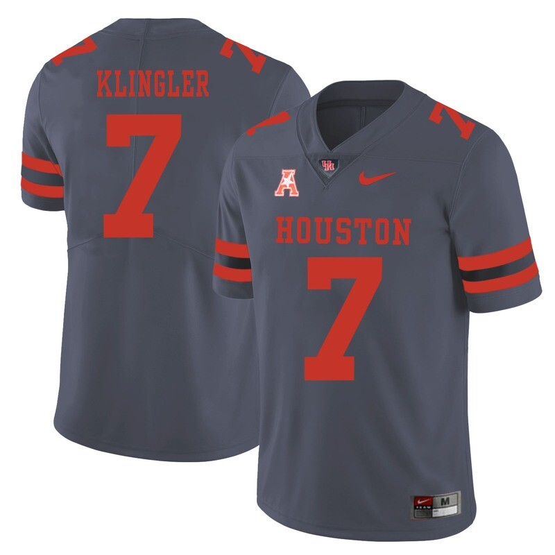 Houston Cougars #7 David Klingler College Football Jersey Gray