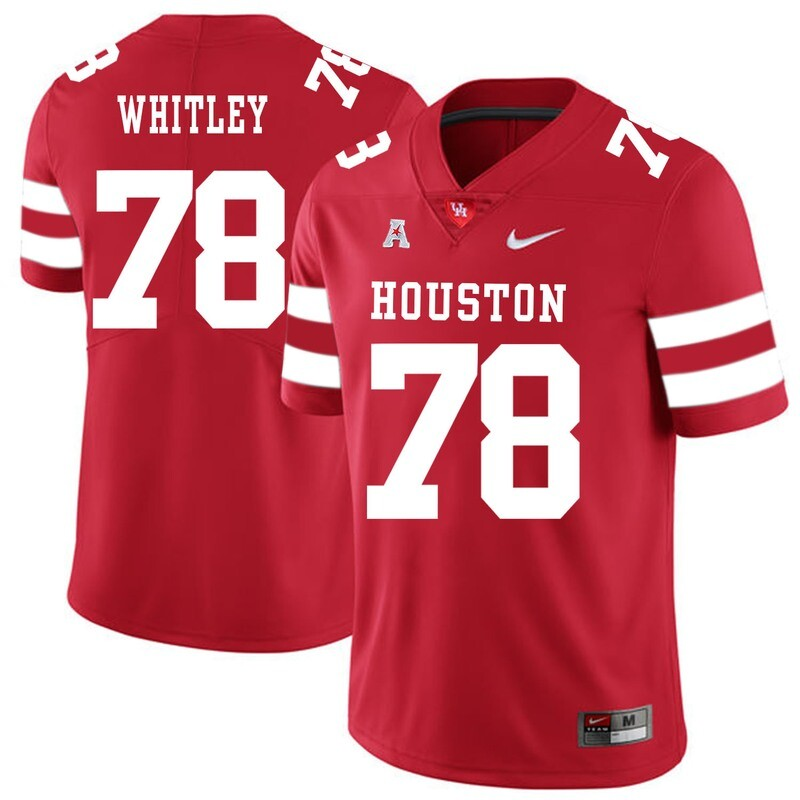 Houston Cougars #78 Wilson Whitley College Football Jersey Red