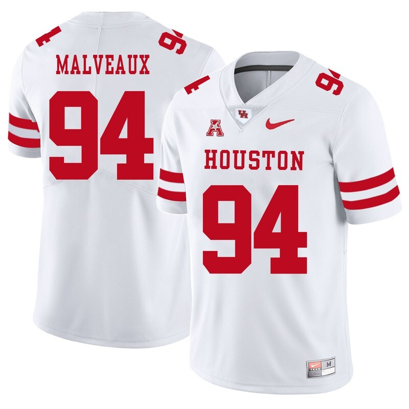 Houston Cougars #94 Cameron Malveaux College Football Jersey White