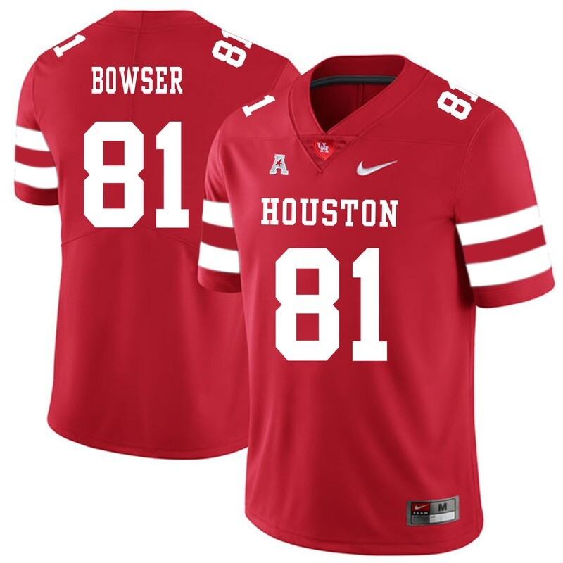 Houston Cougars #81 Tyus Bowser College Football Jersey Red