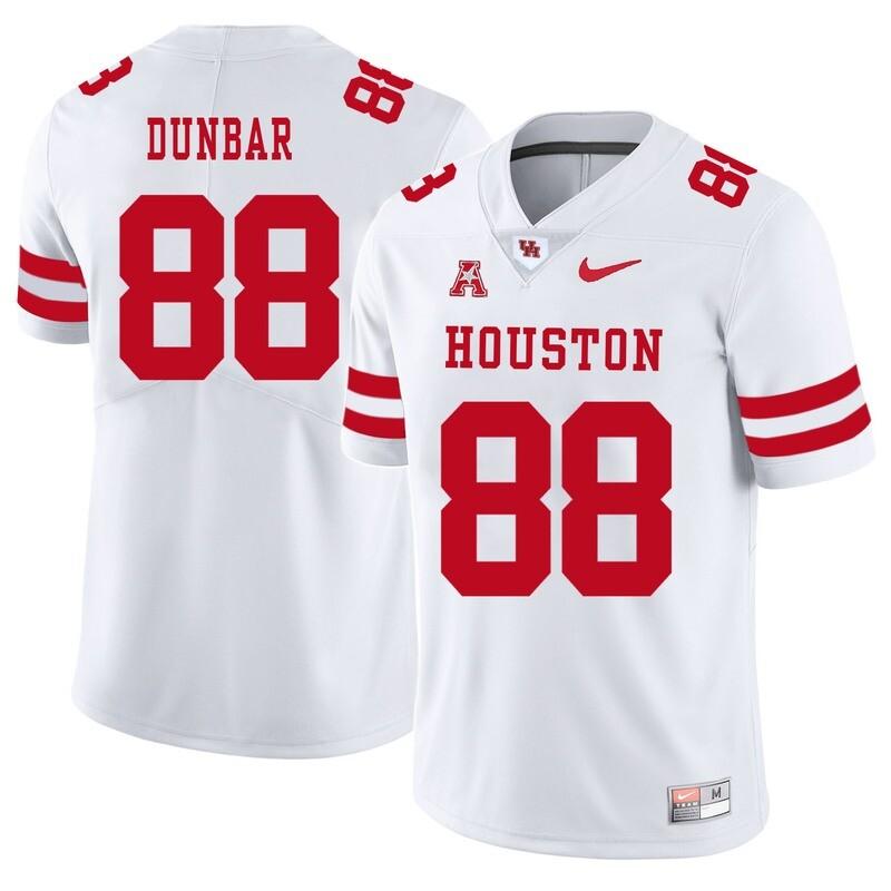 Houston Cougars #88 Steven Dunbar College Football Jersey White