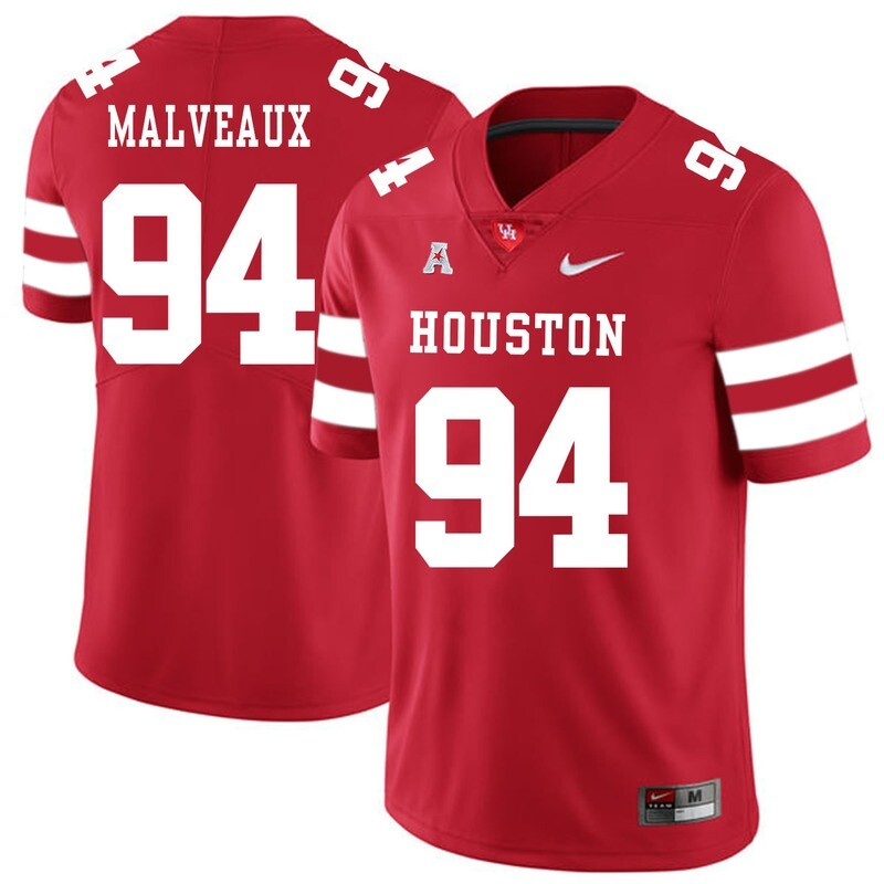 Houston Cougars #94 Cameron Malveaux College Football Jersey Red