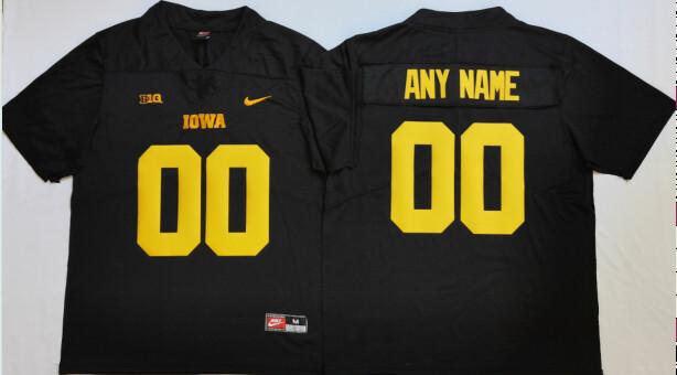 Iowa Hawkeyes Custom Name and Number College Football Jersey Black