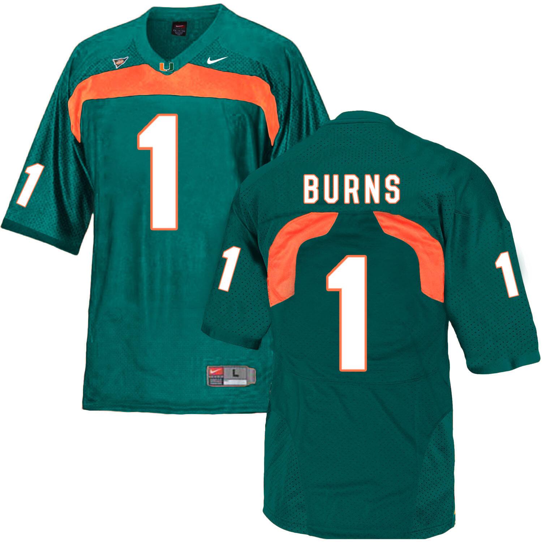 Miami Hurricanes #1 Burns NCAA College Football Jersey Green