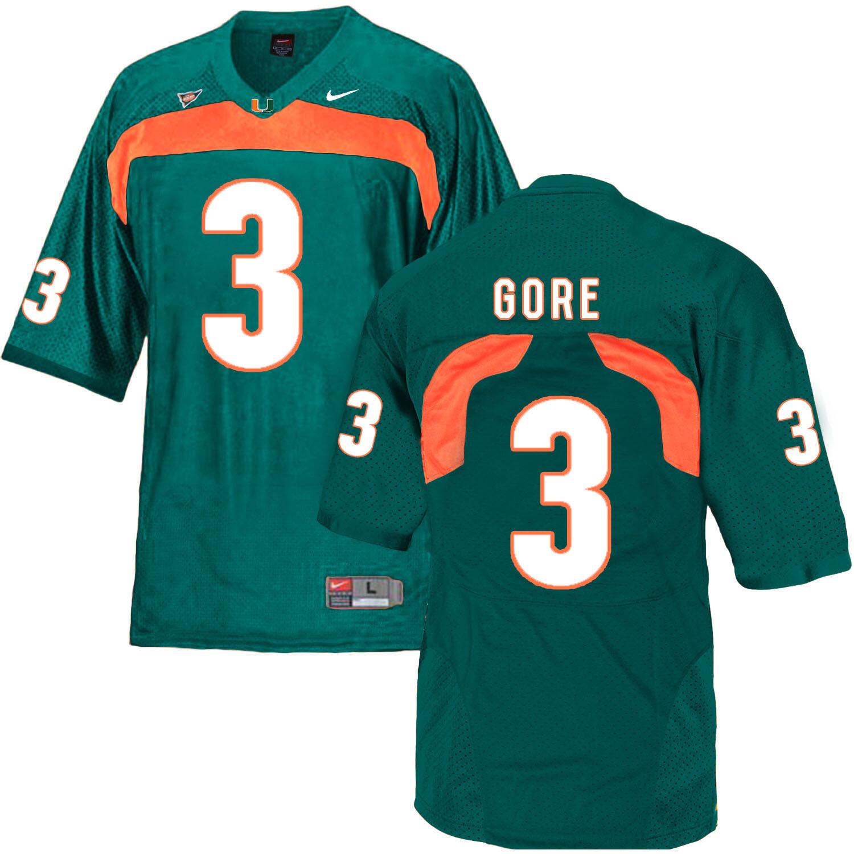 Miami Hurricanes #3 Gore NCAA College Football Jersey Green