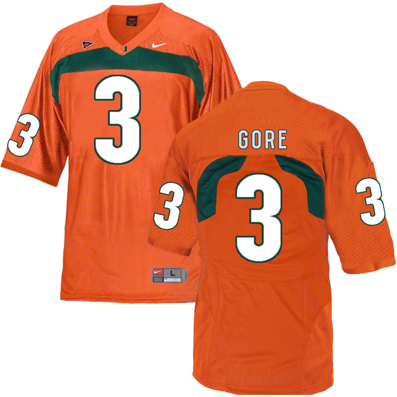 Miami Hurricanes #3 Gore NCAA College Football Jersey Orange