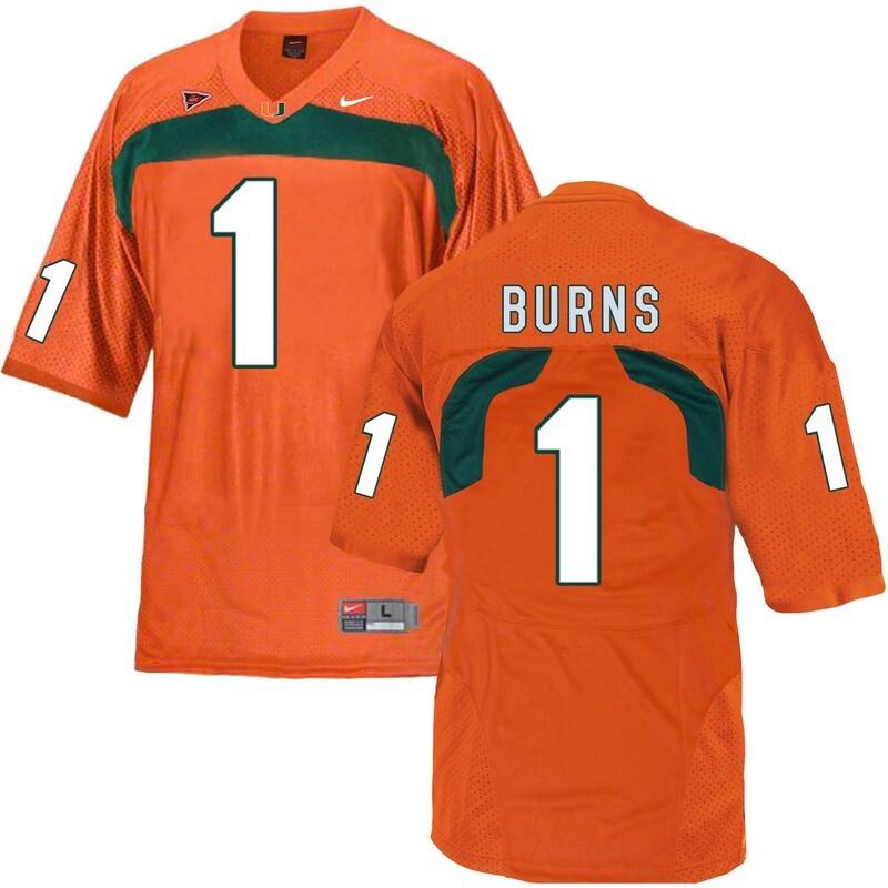 Miami Hurricanes #1 Burns NCAA College Football Jersey Orange