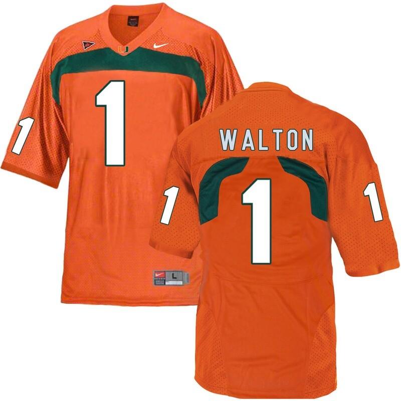 Miami Hurricanes #1 Walton NCAA College Football Jersey Orange