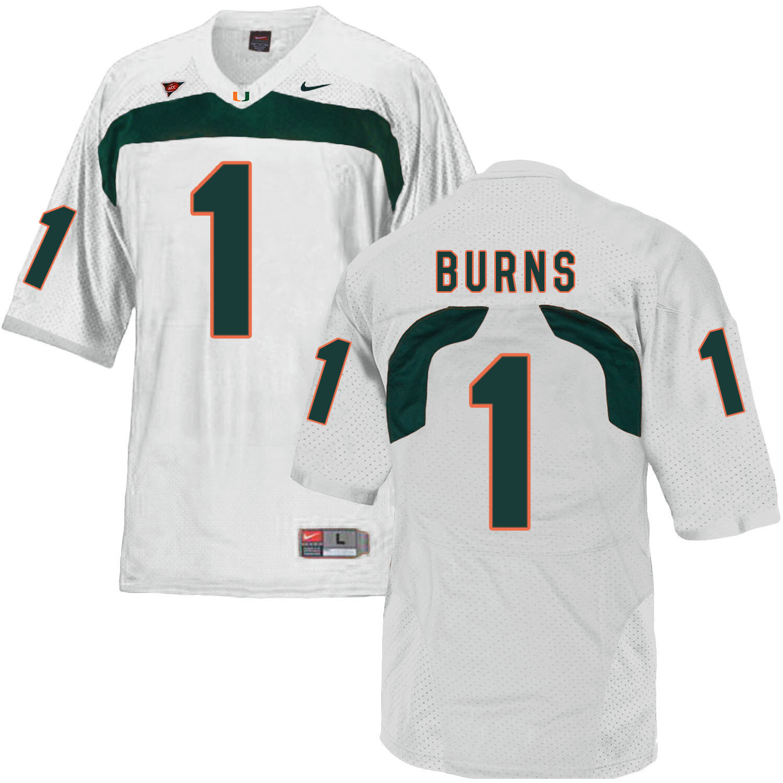 Miami Hurricanes #1 Burns NCAA College Football Jersey White