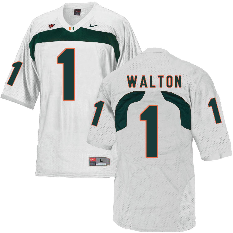 Miami Hurricanes #1 Walton NCAA College Football Jersey White