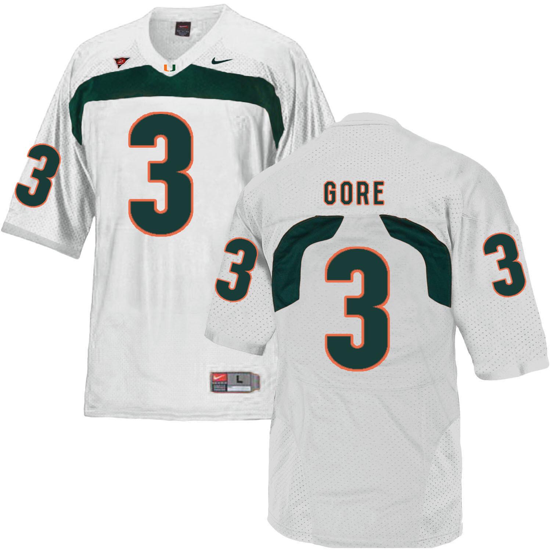 Miami Hurricanes #3 Gore NCAA College Football Jersey White