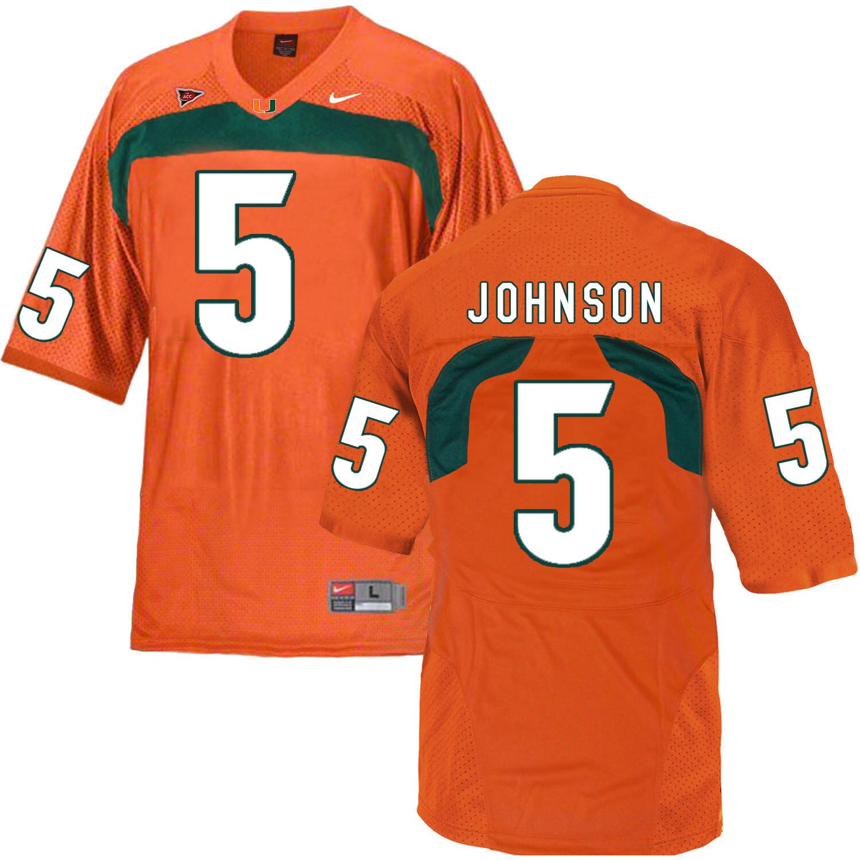 Miami Hurricanes #5 Johnson NCAA College Football Jersey Orange
