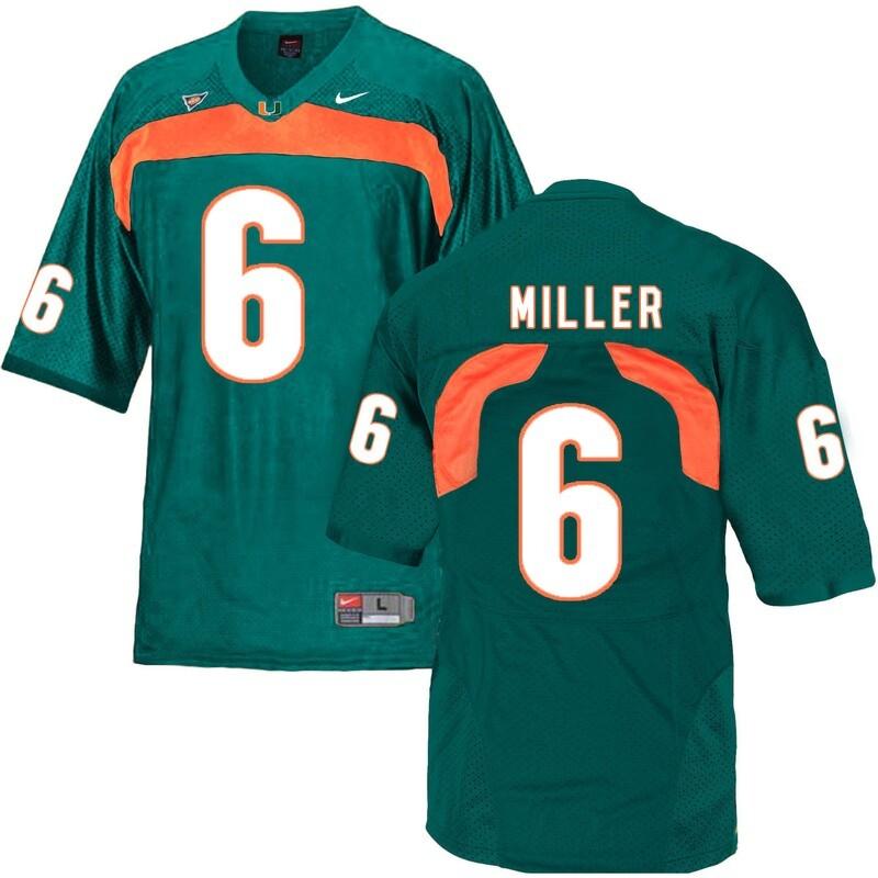 Miami Hurricanes #6 Miller NCAA College Football Jersey Green