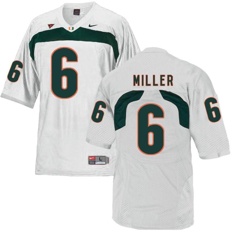 Miami Hurricanes #6 Miller NCAA College Football Jersey White